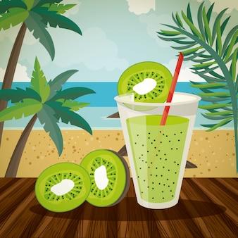 Delicioso e refresco bebida na praia