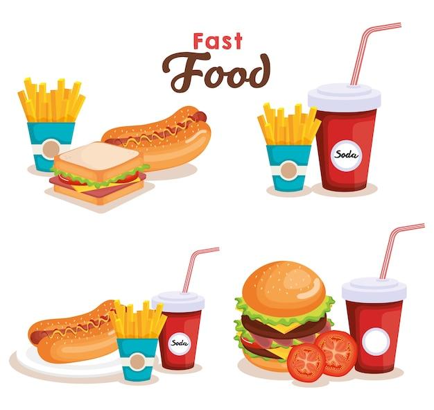 Delicioso fast food ícones vector ilustração design