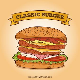 Delicioso fundo clássico hambúrguer