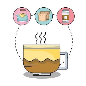 Delicioso gosto do copo de café com ícones