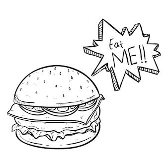Delicioso hambúrguer com comer-me texto e usando o estilo de doodle desenhado mão preto e branco