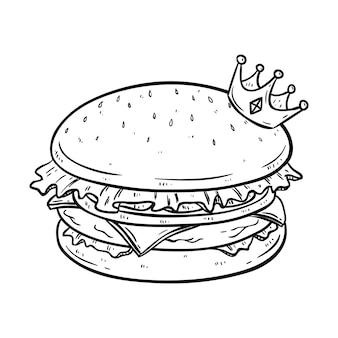 Delicioso hambúrguer com coroa e usando o estilo de doodle desenhado mão preto e branco