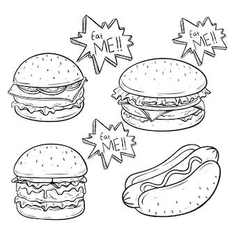 Delicioso hambúrguer e cachorro-quente com queijo derretido, usando o esboço ou mão desenhada estilo