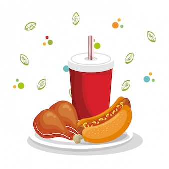 Delicioso menu de fast food