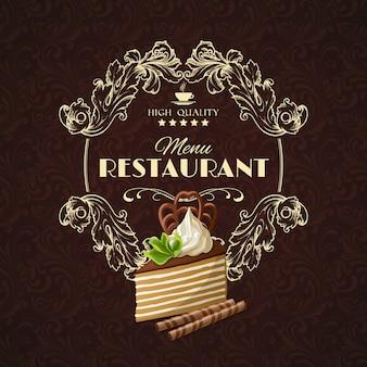 Delicioso menu do restaurante de sobremesas