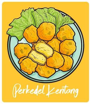 Delicioso perkedel kentang, uma comida indonésia em estilo doodle