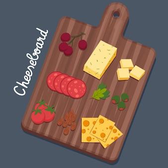 Delicioso petisco de queijo na tábua