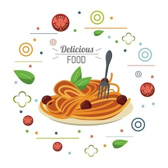 Delicioso prato de comida italiana e cartão de garfo