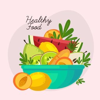 Delicioso prato saudável de frutas e saladas