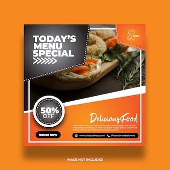 Delicioso restaurante menu de hoje comida saudável especial mídia social modelo abstrato post