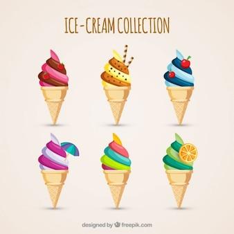Delicioso sorvete com cone de wafer