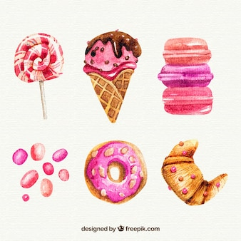 Delicioso sorvete de aquarela e conjunto de pastelaria