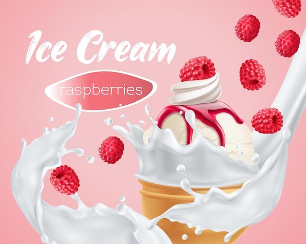 Delicioso sorvete de framboesa com anúncio de leite batido