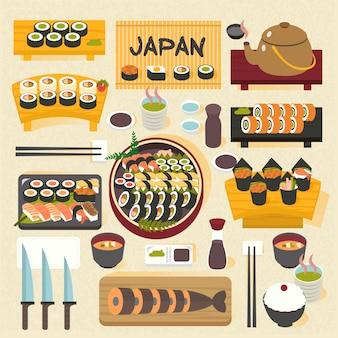 Delicioso sushi japonês posado na mesa de jantar