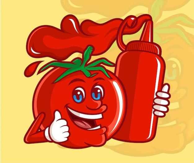 Delicioso tomate com um personagem de desenho animado segurando uma garrafa de molho de tomate