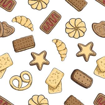 Deliciosos biscoitos no padrão sem emenda