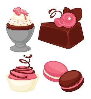 Deliciosos bolos, bolinhos macios e conjunto de macarons crocantes