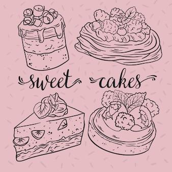 Deliciosos bolos com frutas. esboço. ilustração vetorial