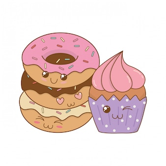 Deliciosos donuts doces com personagens de cupcake kawaii