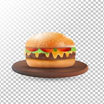 Deliciosos hambúrgueres realistas em transparente