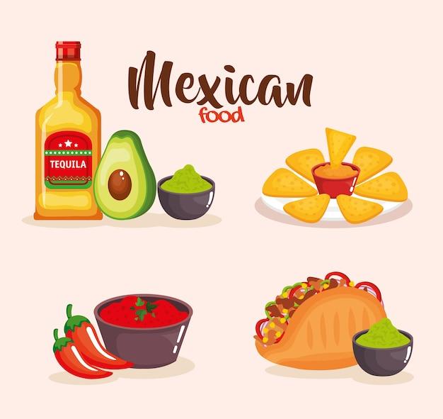 Deliciosos ícones de comida mexicana