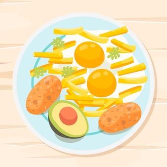 Deliciosos ovos com batatas fritas, comida de conforto