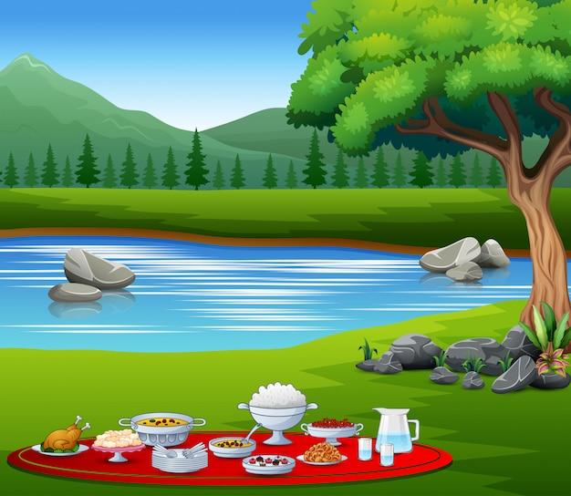 Deliciosos pratos iftar na paisagem natural