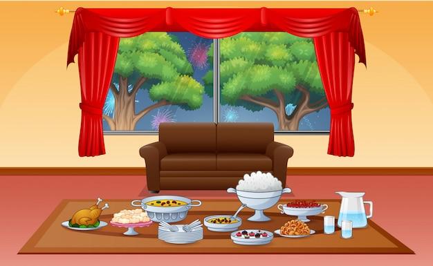 Deliciosos pratos iftar para celebração do eid no ramadã