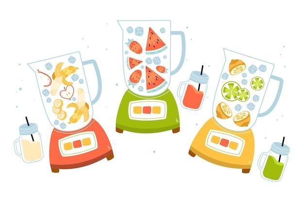Deliciosos smoothies no copo do liquidificador