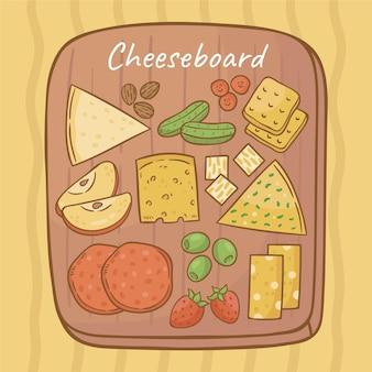 Deliciosos tipos de queijo em uma tábua de madeira
