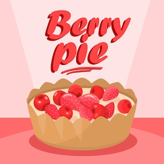 Delicious berry pie cartoon banner de mídia social