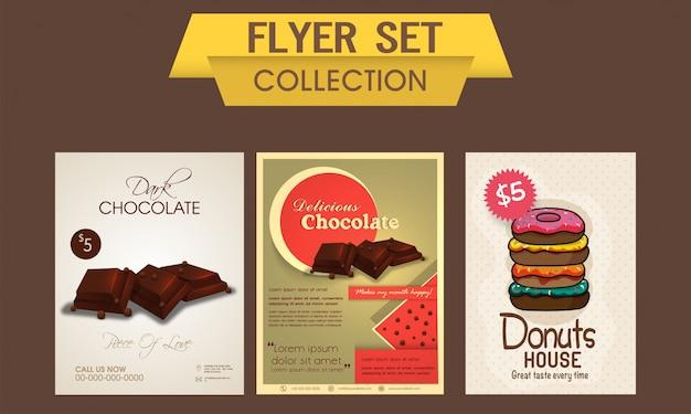Delicious chocolate e doces insetos flyer, modelo ou banner conjunto, alimentos e bebidas conceito