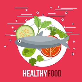 Delicious fish salad tomato pepino alimentos saudáveis