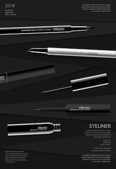 Delineador cosmético com embalagem poster design vector illustration