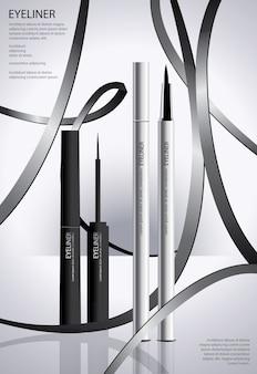 Delineador cosmético com poster de embalagem