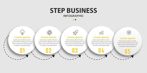 Delinear a linha do tempo circular com três etapas de design de gráficos de informações
