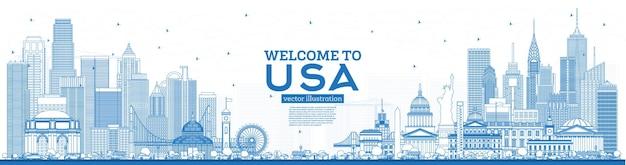 Delinear as boas-vindas ao horizonte dos eua com edifícios azuis. marcos famosos nos eua. ilustração