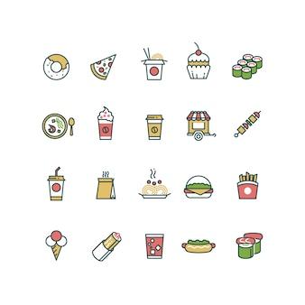 Delinear ícones de fast-food