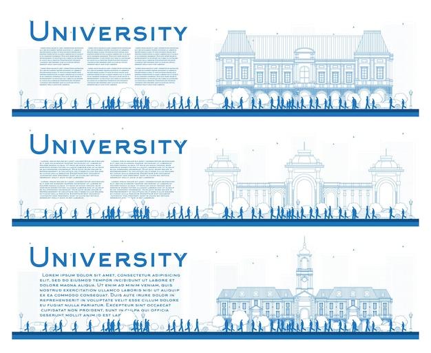 Delinear o conjunto de banners de estudo universitário. ilustração vetorial. os alunos vão para o prédio principal da universidade. banner com cópia espaço.