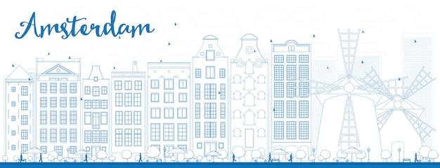 Delinear o horizonte da cidade de amesterdão com edifícios azuis