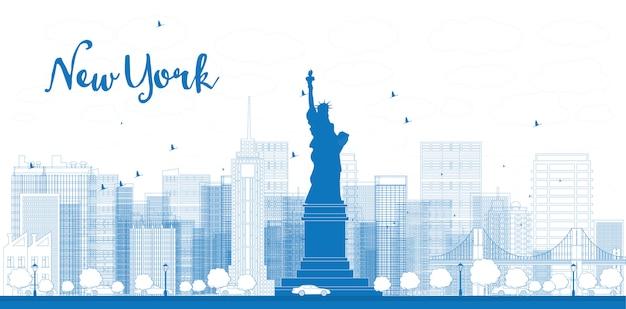Delinear o horizonte da cidade de nova york com arranha-céus
