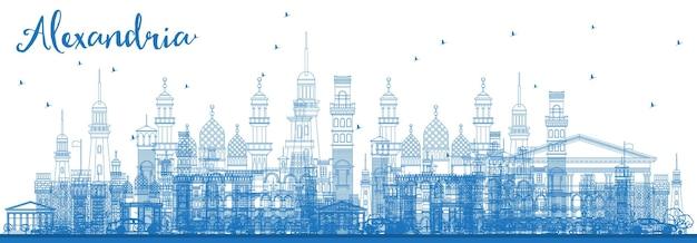 Delinear o horizonte de alexandria egito com edifícios azuis. ilustração vetorial. viagem de negócios e conceito de turismo com arquitetura histórica. alexandria, paisagem urbana com pontos turísticos.
