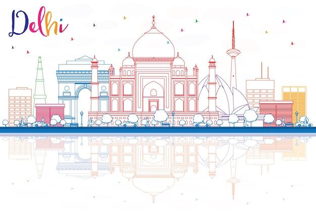 Delinear o horizonte de delhi com edifícios de cor e reflexos. ilustração vetorial. viagem de negócios e conceito de turismo com edifícios históricos. imagem para cartaz de banner de apresentação e site.