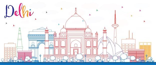 Delinear o horizonte de delhi com edifícios de cor. ilustração vetorial. viagem de negócios e conceito de turismo com edifícios históricos. imagem para cartaz de banner de apresentação e site.