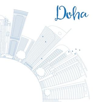 Delinear o horizonte de doha com arranha-céus azuis. Vetor Premium