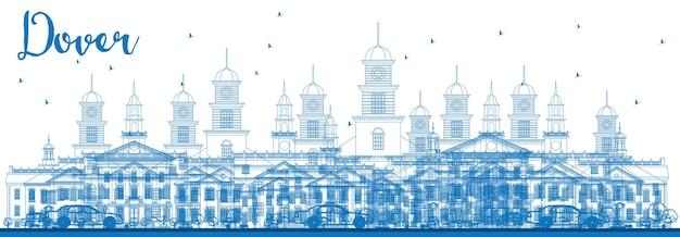 Delinear o horizonte de dover com edifícios azuis. ilustração vetorial. viagem de negócios e conceito de turismo com edifícios históricos. imagem para cartaz de banner de apresentação e site.