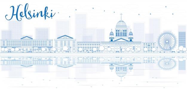 Delinear o horizonte de helsínquia com edifícios azuis e reflexões.