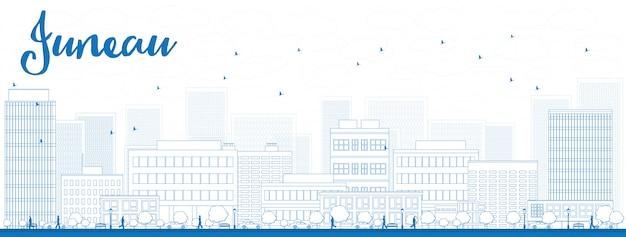 Delinear o horizonte de juneau (alasca) com edifícios azuis