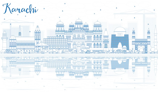 Delinear o horizonte de karachi com reflexões e pontos de referência azuis.