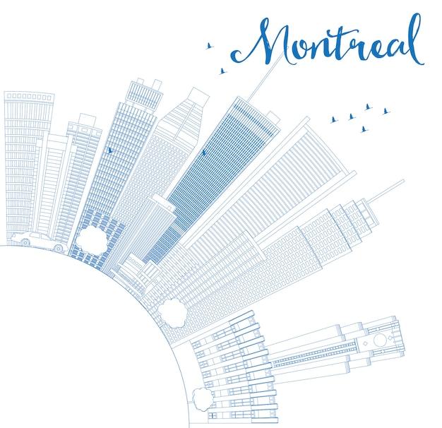 Delinear o horizonte de montreal com edifícios azuis e copie o espaço.